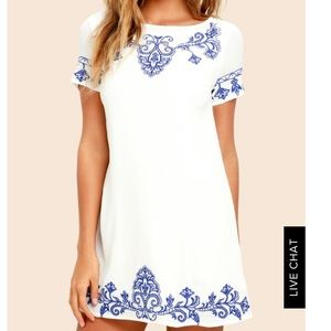 Lulus Blue and White Embroidered Dress